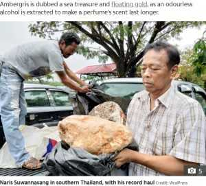 その価値3億円超か クジラが排出した約100キロの「龍涎香」を漁師が発見(タイ)